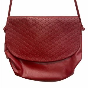 Vintage Quilted Crossbody Bag Red Faux Leather GUC
